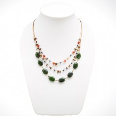 Oval Stone Silk thread Necklace (Dark Green)